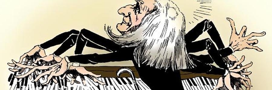 Caricature de Franz Liszt au piano — La Vie Parisienne, publié le 3 Avril 1886 (recadrée)